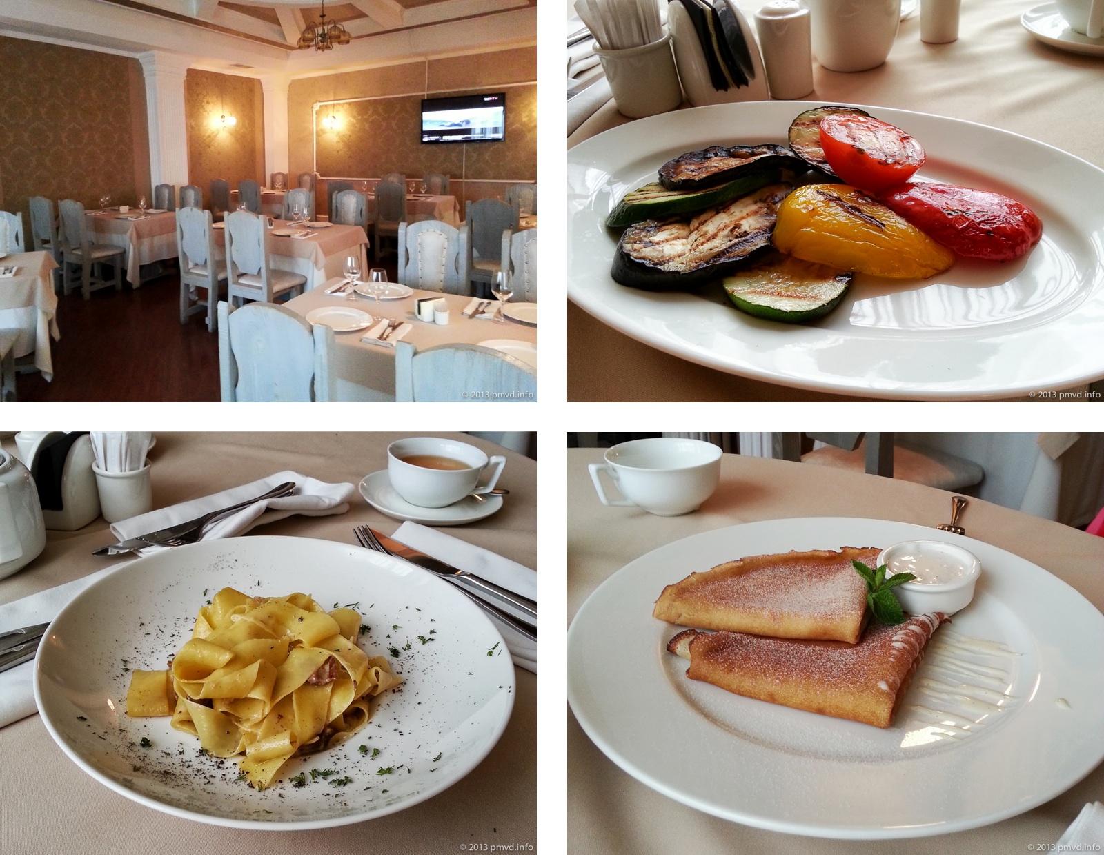 Интерьер и блюда в ресторане Сопрано. Твин Кидс. Трехгорка. Одинцово.