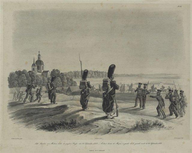 Покровский храм в Перхушково. Село Перхушково, занятое французскими войсками. Французская гравюра.