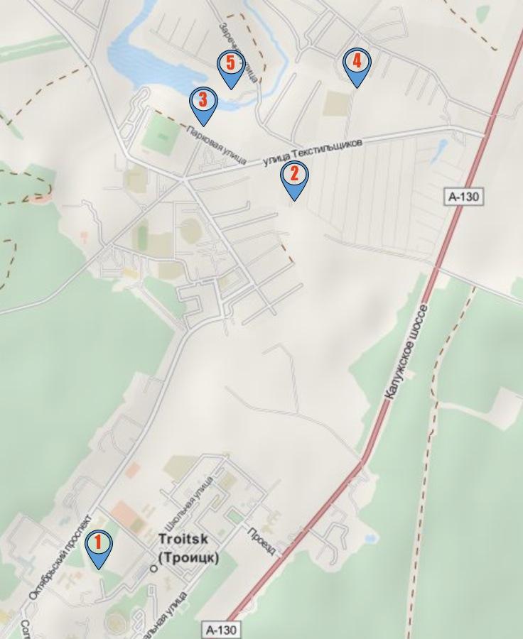 Троицк. Карта достопримечательностей